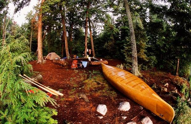 Island campsite at Three Mile Lake.