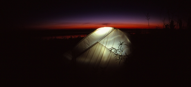 Sunset, Tent and Moose River