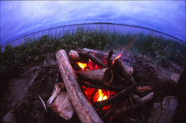 Camp fire on Kwetabohigan Island