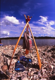 Gravity-powered water filter; rigging by Mike