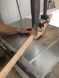 Carving the final paddle on the band saw